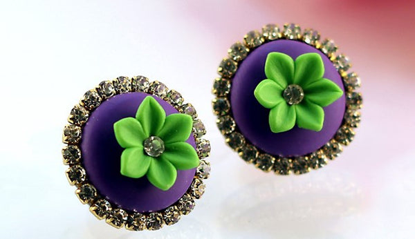 Purple Green Rhinestone Polymer Clay Studs