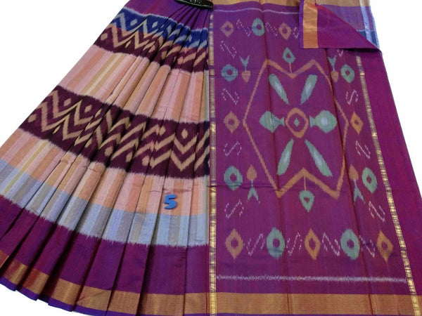 Purple Ikkat Silk Cotton Saree-SRE-774