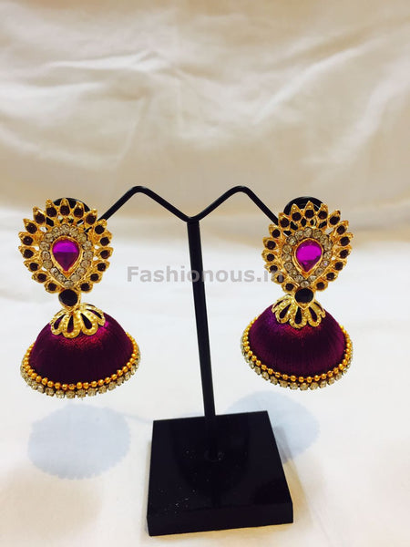 Purple Stone Studded Droplet Silk Thread Jhumkas-STJH-022
