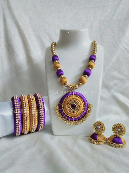 Purple and Golden Silk Thread Jewellery Set