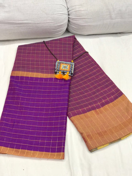 Purple and Light Pink Checked Silk Cotton Saree-SRE-257