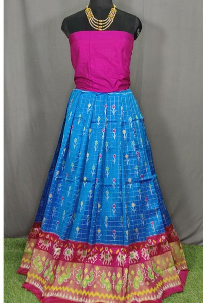 Purple and Sky Blue Ikkat Pure Silk Lehenga