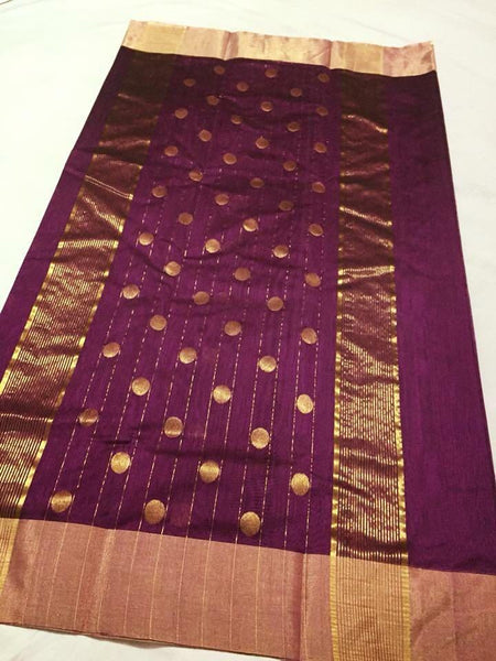 Purple with Golden Stripped Dotted Zari Border Chanderi Silk Saree-CHANSRE-056