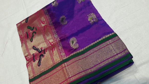 Purple with Golden Zari Green Border Paithani Saree-PAITHANI-025