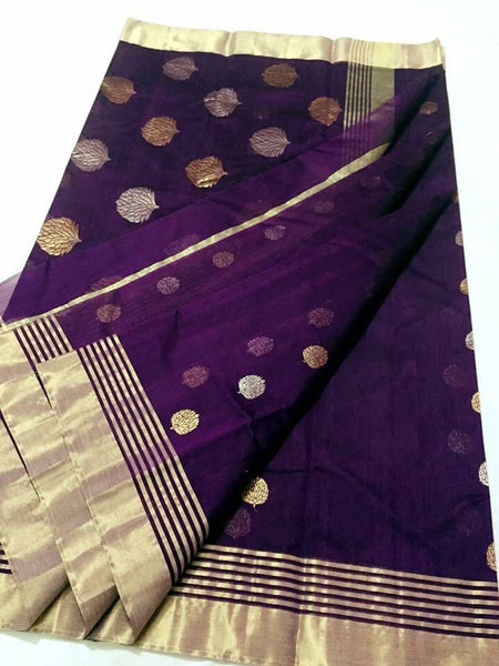 Purple with Golden and Silver Floral Chanderi Silk Saree-CHANSRE-052