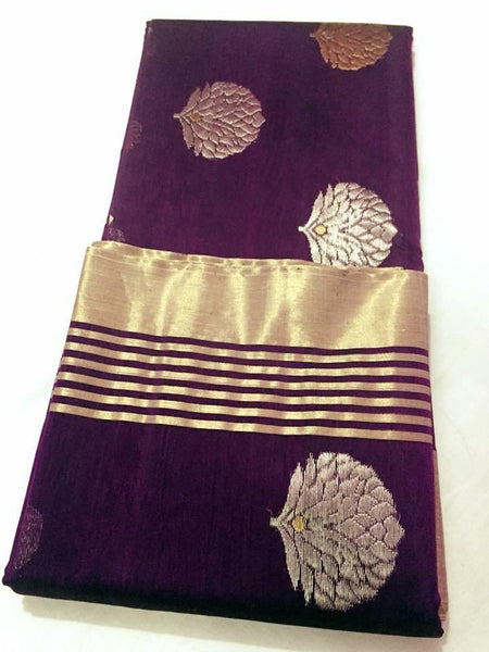 Purple with Golden and Silver Floral Chanderi Silk Saree