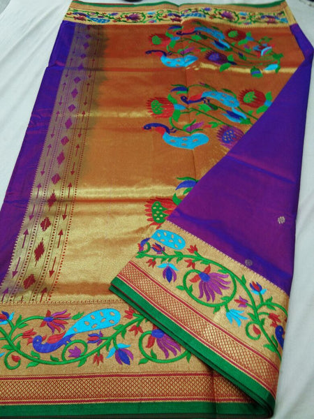 Purple with Green Border Peacock Designed Pallu Paithani Saree-PAITHANI-082