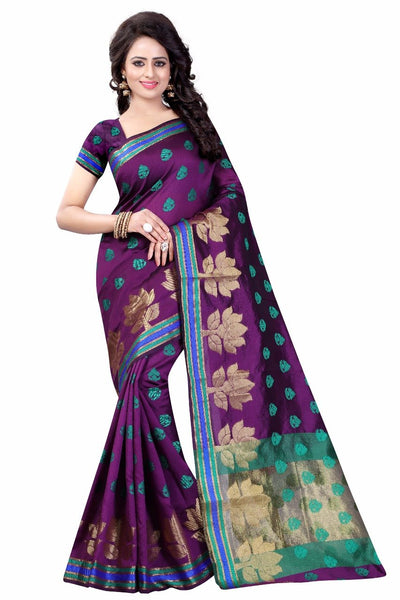 Purple with Lotus Designed Pallu Banarasi Saree-SRE-986 purple coloured heavy saree
