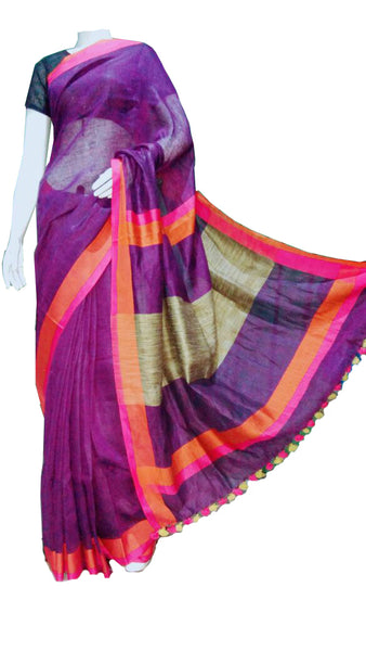 Purple with Orange and Pink Border Linen Saree
