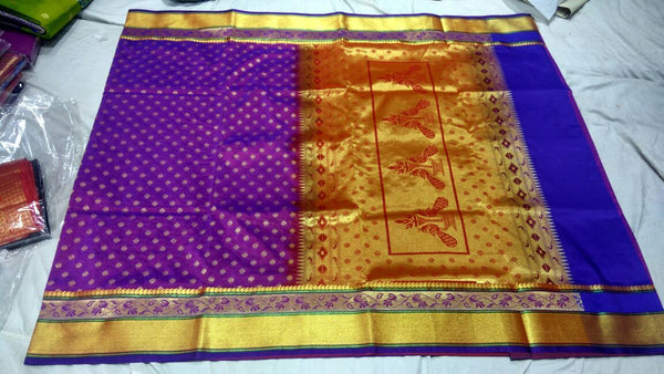 Purple with Peacock Designed Golden Pallu Paithani Saree-PAITHANI-004