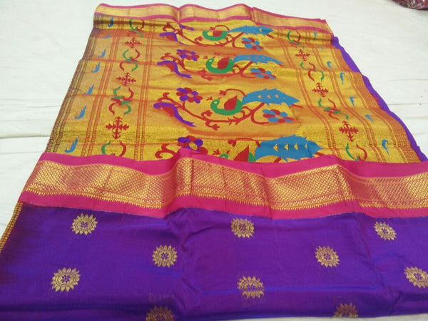 Purple with Pink Border Peacock Pallu Paithani Saree-PAITHANI-089
