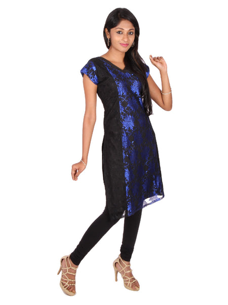 Blue and Black Princess cut Lace Kurta