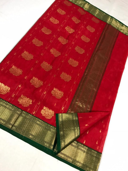 Carmine Red Chanderi Silk Saree With Golden Green Border- CSH054