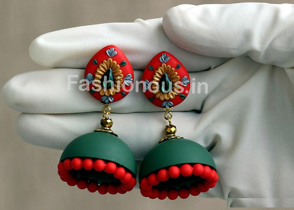 Red-Green with Golden Floral Jhumka-ZAPCJH-009