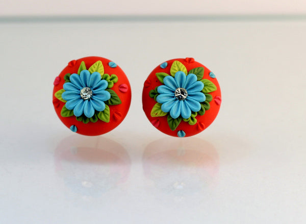 Red Blue Floral Embroidery Polymer Clay Stud