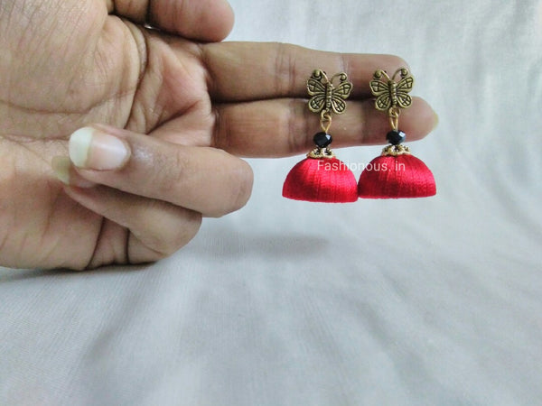 Red Butterfly Silk Thread Earrings