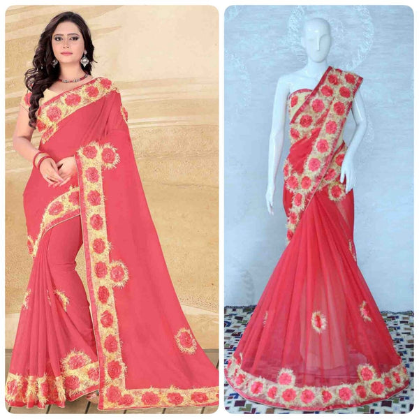 Red Chiffon With Heavy Flower Lace Designer Saree-SRE-1141