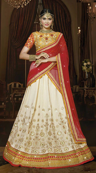 Red & Cream With Golden Embroidered Bridal Lehenga