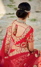 Red & Cream Embroidered Bridal Lehenga