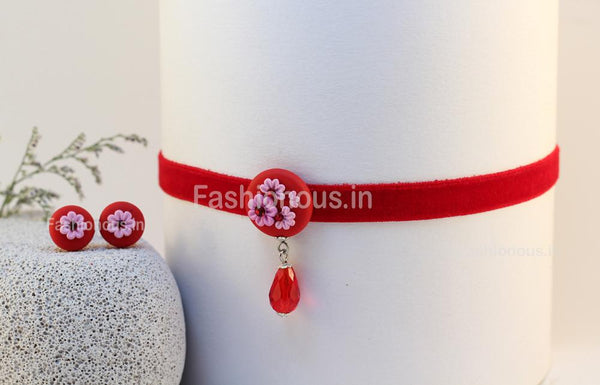 Red Floral Choker and Rhinestone Studs-ZAPCNS-025