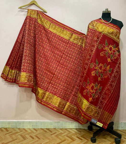 Red with Floral Pallu Designed Patola Silk Saree-PPSRE-002