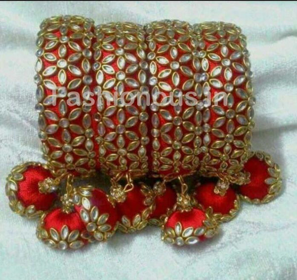 Red Floral Stone Worked with Hanging Jhumka Silk Thread Bangle Set-STJSW-031