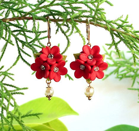 Red Floral Polymer Clay earrings
