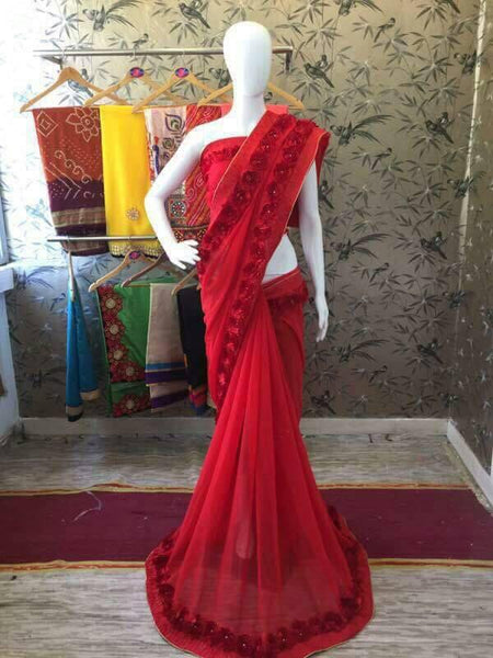 Red Georgette with Ribbon work and Rose Lace Designer Saree-SRE-206