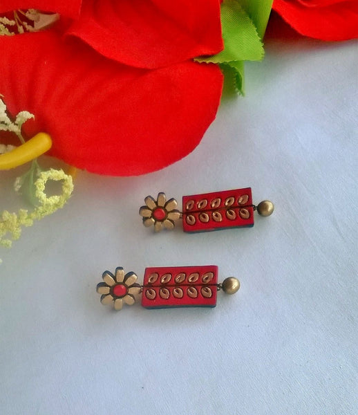 Red & Gold Flower Terracotta Earrings