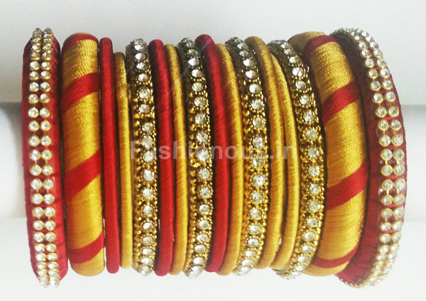 Red and Gold Silk Thread Jewellery Set