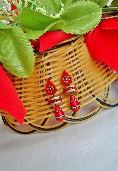 Red & Gold Teardrop Terracotta Earrings