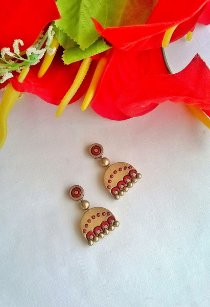 Red & Gold  Terracotta Earrings