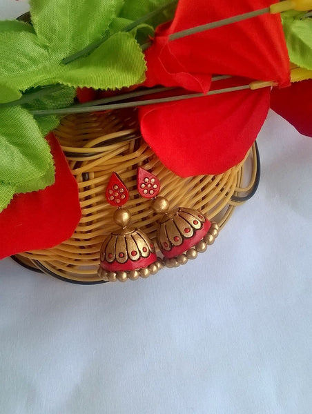 Red and Gold Terracotta Jhumka