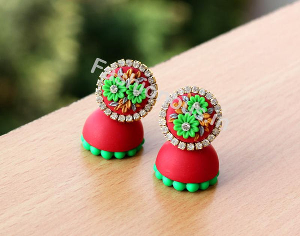 Red Green Floral Jhumka-ZAPCJH-032