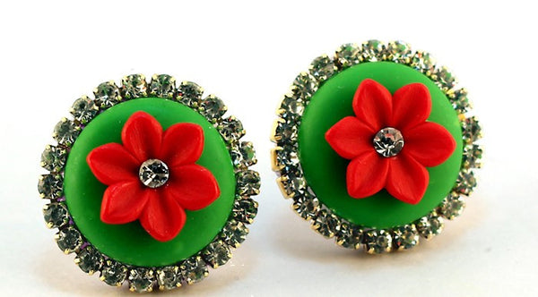 Red Green Rhinestone Polymer Clay Studs