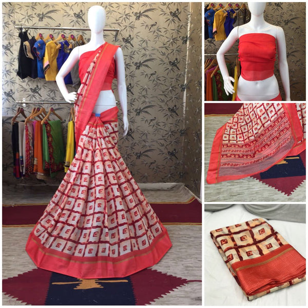 Red Linen Silk with Satin Border Designer Saree-SRE-1017