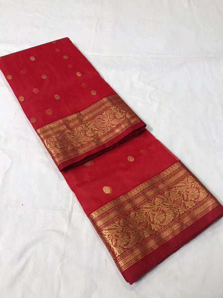 Red Pure Katan Silk Chanderi Saree