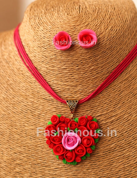 Red Rose Floral Heart Pendant and Studs-ZAPCNS-040