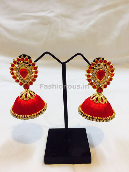 Red Stone Studded Droplet Silk Thread Jhumkas-STJH-014