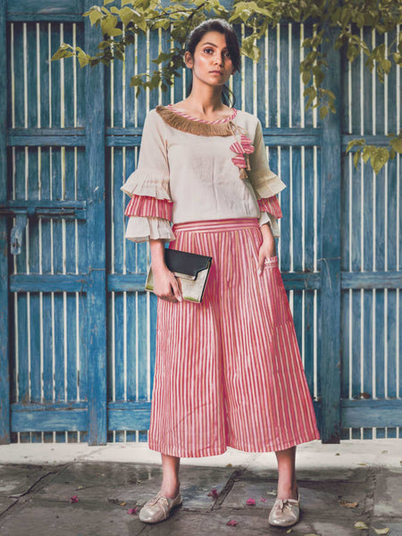 Casual Khadi off-white pagoda sleeves top & trendy calf-length pants set