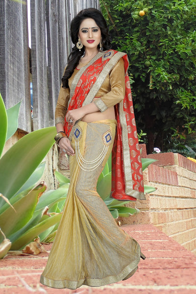 Red and Beige colour Embroidery Patch Work Saree-SRP-GS-07