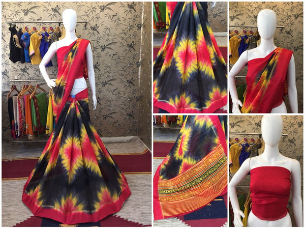 Red and Black Linen Silk with Satin Border Designer Saree-SRE-1064