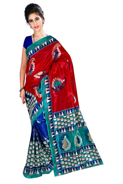 Red and Blue Bhagalpuri Saree-SRE-785