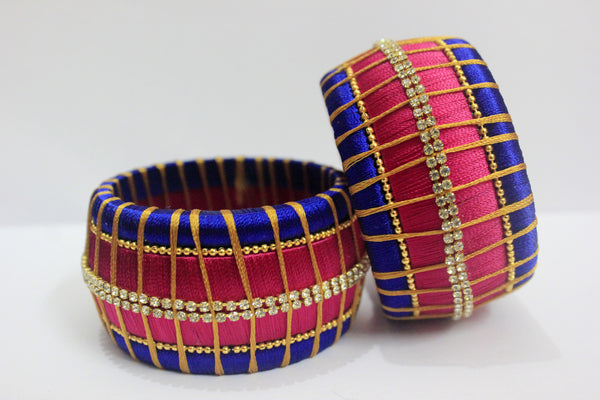 Red and Blue Designer silk thread Bangle Pair