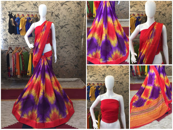 Red and Blue Linen Silk with Satin Border Designer Saree-SRE-1062