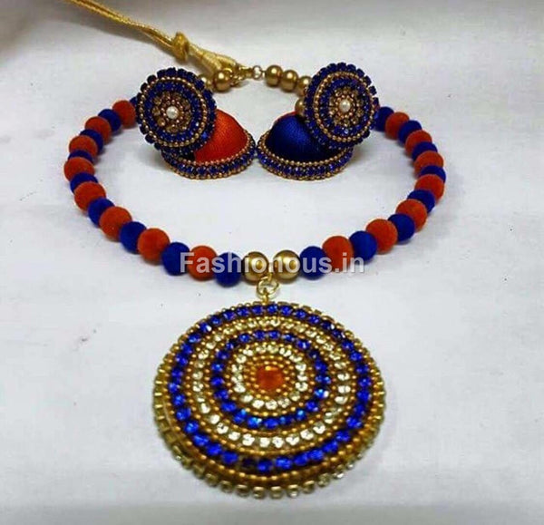 Red and Dark Blue Silk Thread Jewellery Set