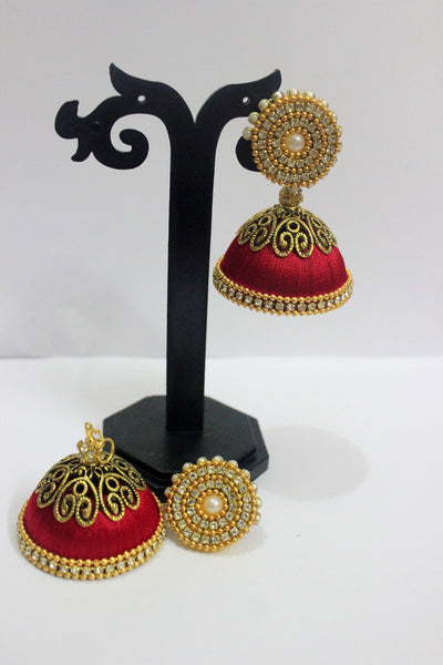 Red and Gold Designer Silk Thread jhumkas