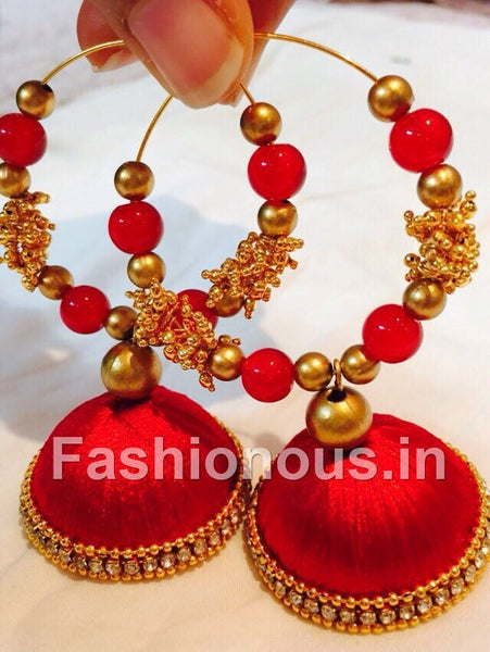 Red and Gold Silk Thread Hoops