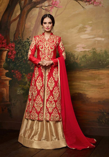 Red and Golden Embroidered Bridal Lehenga