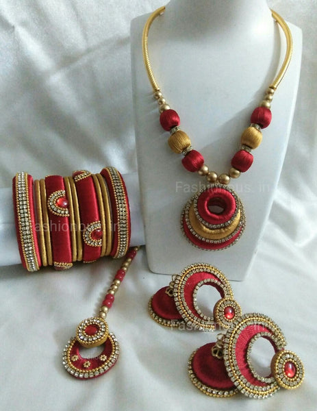Red and Golden Silk Thread Jewellery Set